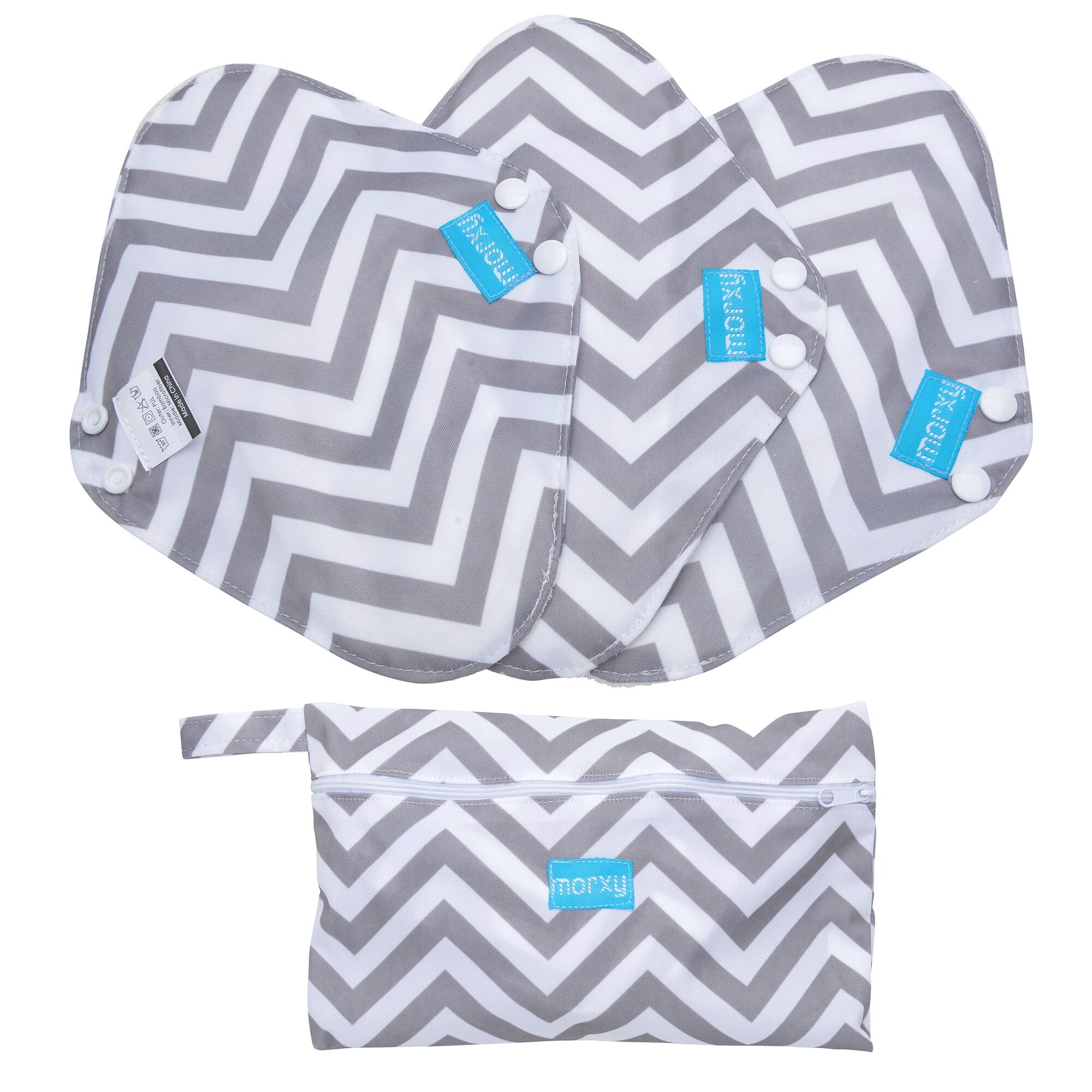 Morxy Reusable Panty Liners, Sanitary Pads, Menstrual Pads For Women. Washable Cotton Bamboo Cloth Pads, Incontinence Pads For Light Flow - 3 Pack Set ( Small ) With Wet Bag