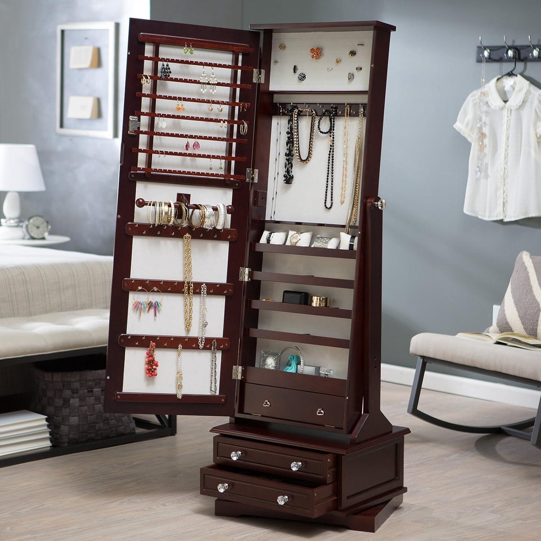 Amazon.com: Belham Living Swivel Cheval Jewelry Armoire Cherry ...