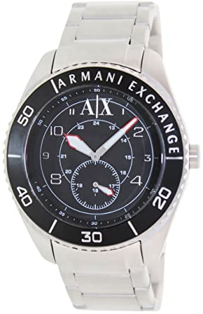 1a156846af1 Image Unavailable. Image not available for. Color  Armani Exchange GMT Black  Dial Stainless Steel Mens Watch AX1263