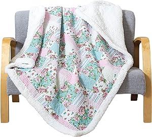 "Soul & Lane Plush Fleece Throw Blanket Layla with White Sherpa (50"" x 60"") | Soft Warm Fluffy Throw"