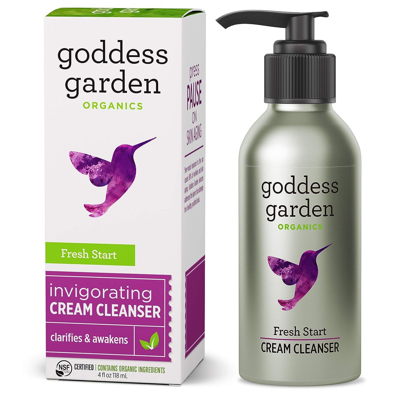 Goddess Garden - Fresh Start Invigorating Cream Cleanser - Sensitive Skin, Certified Organic, Vegan, Leaping Bunny Certified Cruelty-Free, Paraben-Free, Certified B Corp - 4 oz Bottle