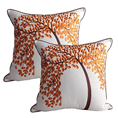 Queenie® - 2 Pcs Lovely Embroidery Cotton Linen Decorative Throw Pillow Case Pillowcase Cushion Cover 18 X 18 Inch (45 X 45 Cm) (Orange Life Tree Brown Piping, Set of 2)