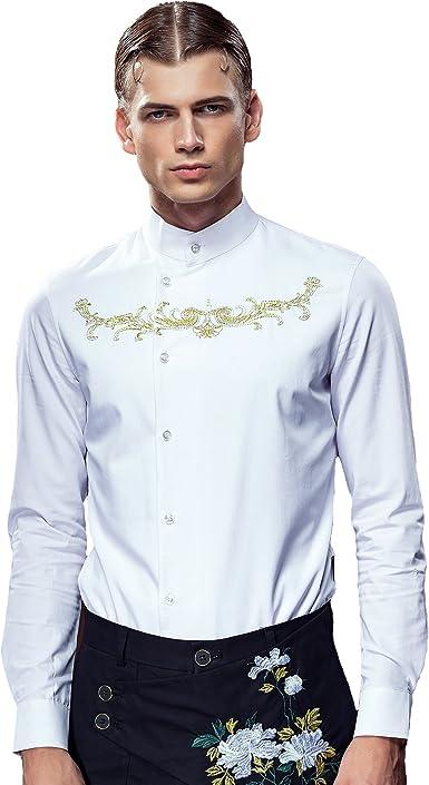 FANZHUAN Camisa Blanca Hombre Bordada Camisa Blanca Slim Fit Camisa Blanca Hombre XXXL: Amazon.es: Ropa y accesorios