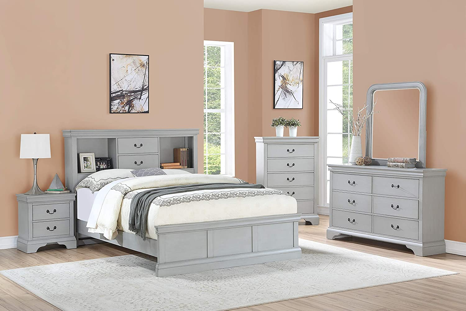 Amazon.com: Esofastore Classic Modern Bedroom Furniture 4pc Set ...