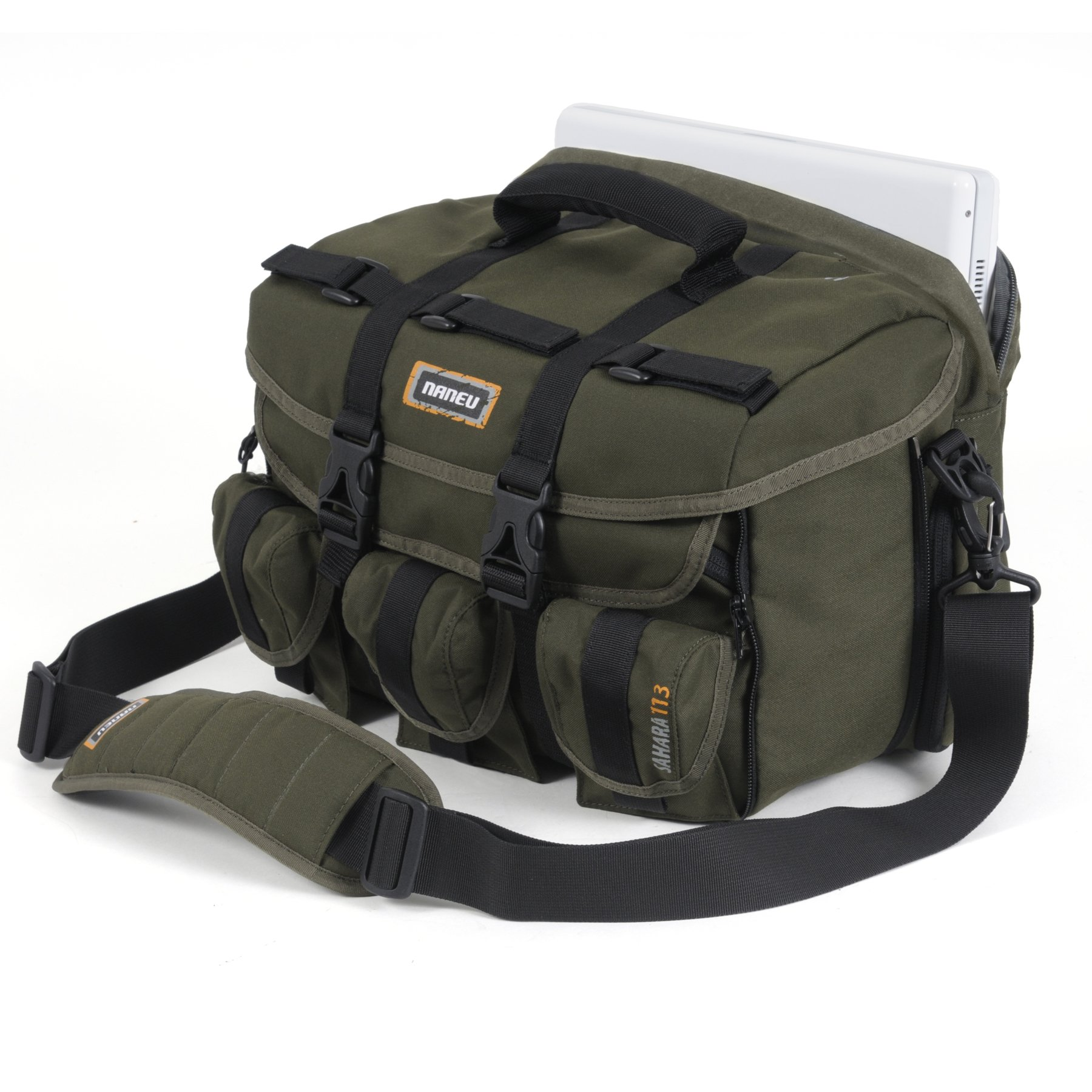 Naneu 115f Grn Sahara Expandable Shoulder Camera Bag with 15.4-Inch Laptop Sleeve (Green)