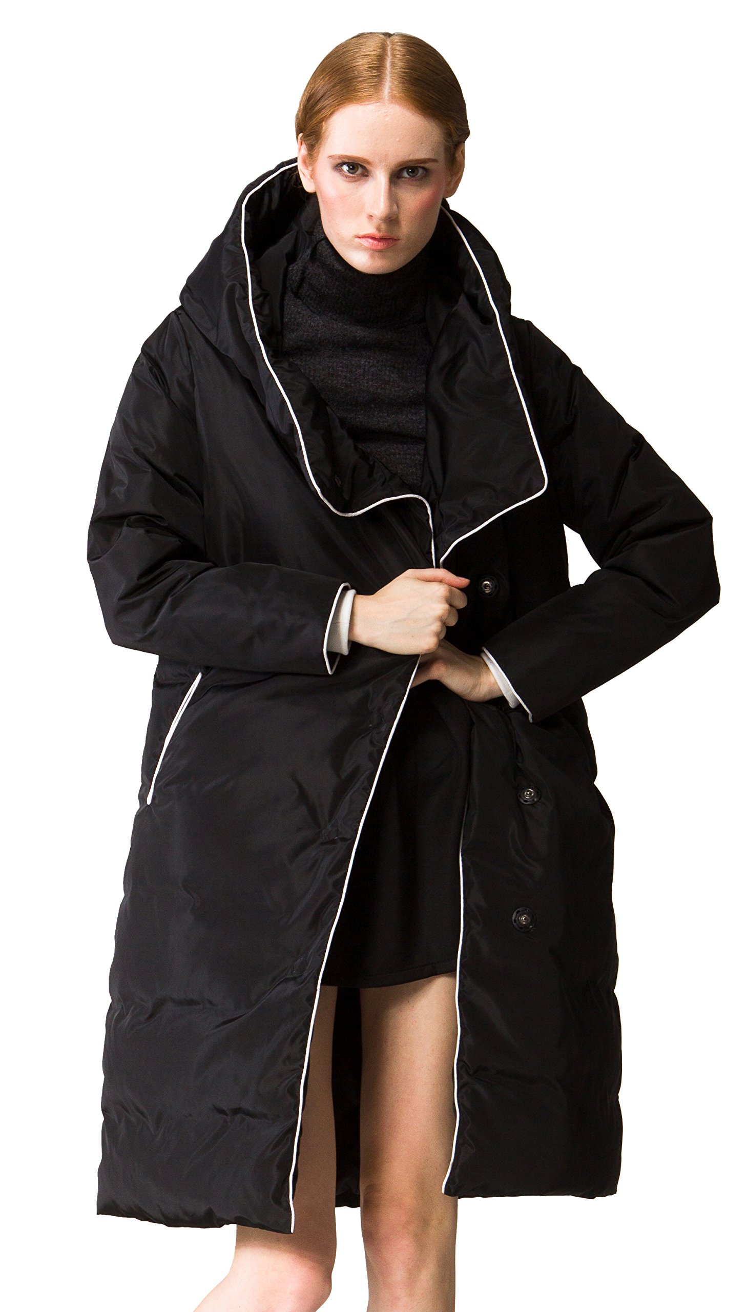 Orolay Women's Thickened Long Down Jacket with Hood Black S