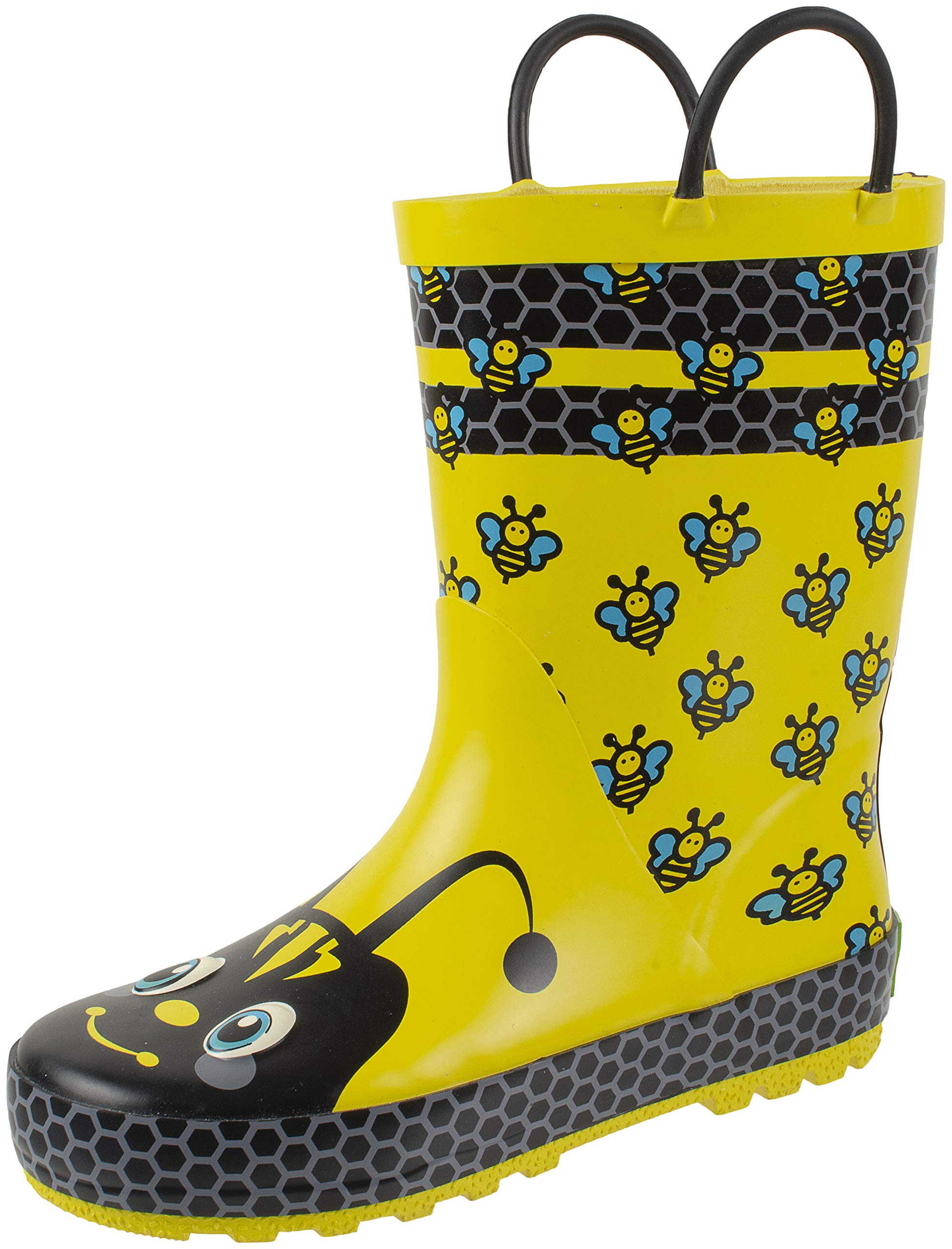 Rainbow Daze Kids Rain Boots with Easy on Handles, Fun Prints,Waterproof,Unisex Boots,Little Kid 9/10, Yellow Bee