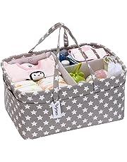 Cesta de almacenamiento para pañales de bebé, organizador de coche, cesta de regalo para recién nacido, con separador desmontable y 10 bolsillos invisibles para pañales y toallitas, estrella gris
