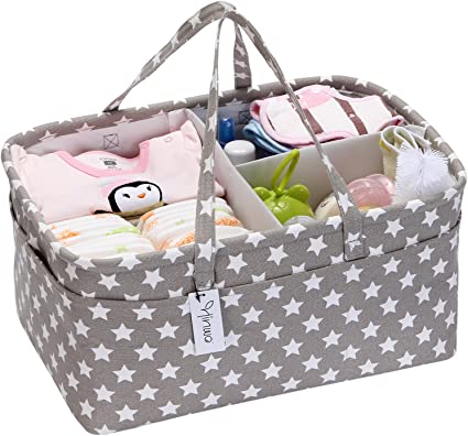 Baby Shower Gift Basket for Diapers /& Baby Wipes Portable Nursery Storage Bin and Car Organizer with Changeable Compartments Nappy Bags for Child Baby Diaper Caddy