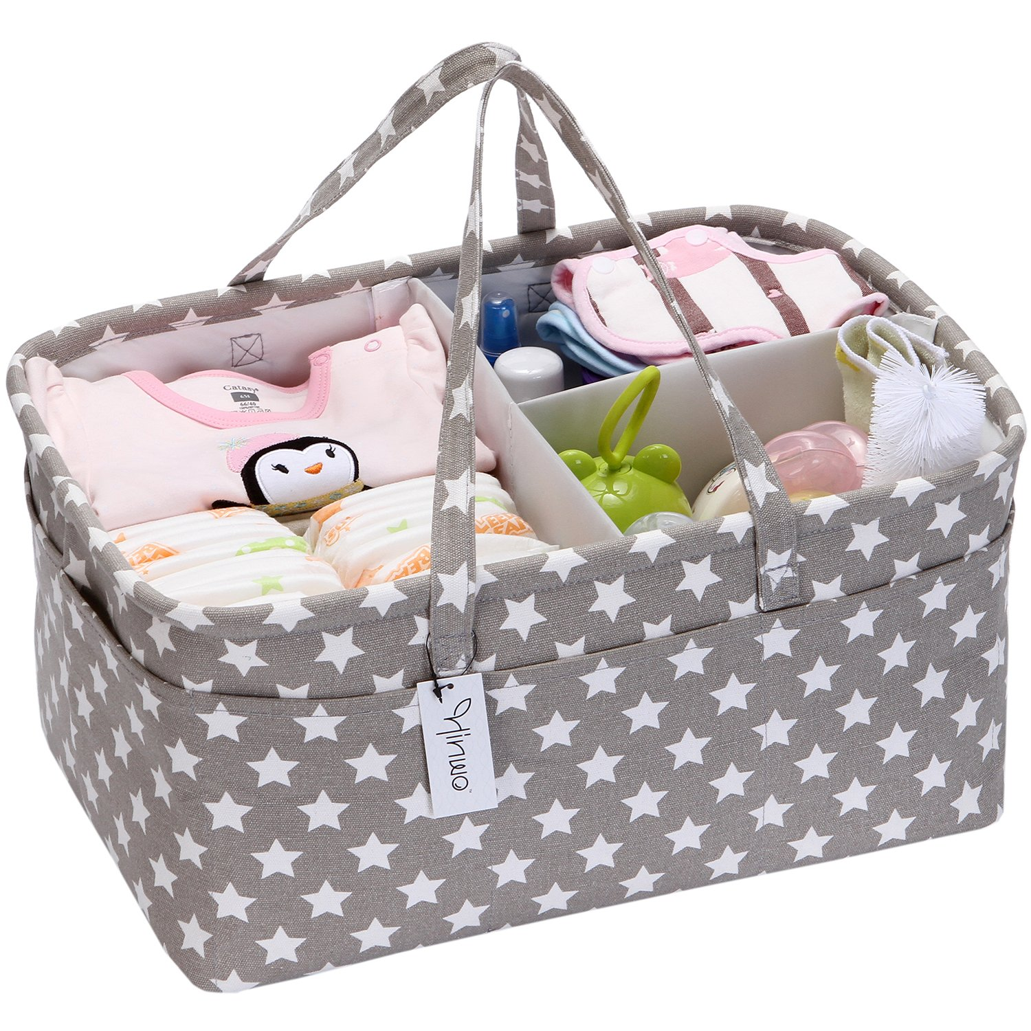 Hinwo Baby Diaper Caddy 3-Compartment Infant Nursery Tote Storage Bin Portable Car Organizer Newborn Shower Gift Basket with Detachable Divider and 10 Invisible Pockets for Diapers & Wipes, Grey Star HWSB0002GREY