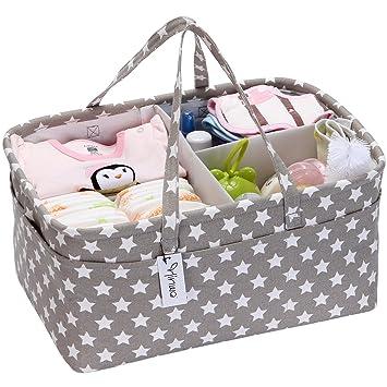 Hinwo - Cesta de almacenamiento para pañales de bebé, 3 compartimentos, organizador de coche