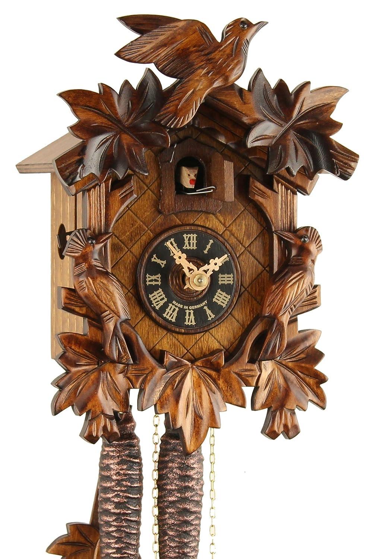 Orologio a cucù originale nero foreste Cuculo Orologio meccanico in vero legno 1giorno unità nuovo Certificato VDS Eble–Tre Uccello 23cm di 20–06–12–10