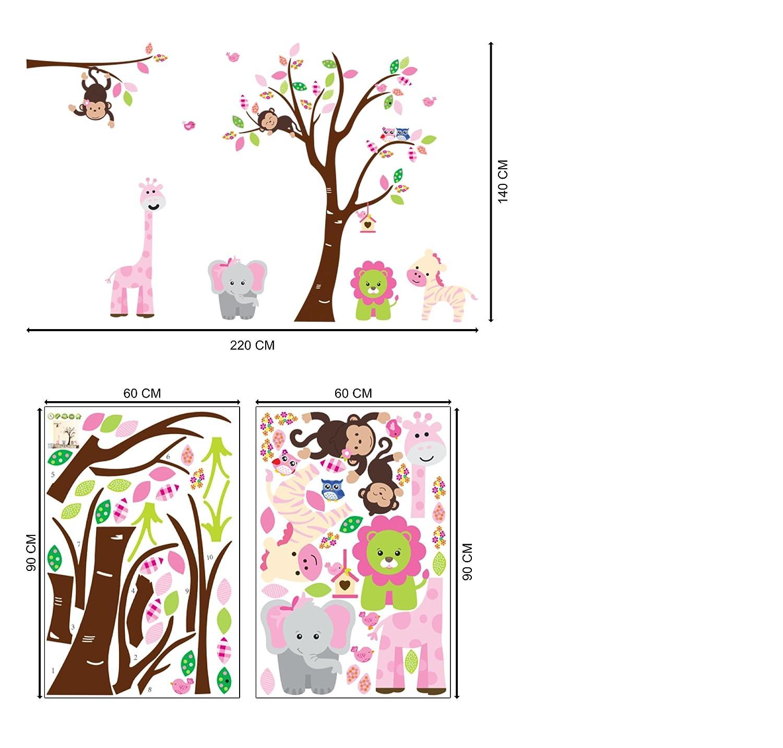 Murales Wall Art Stickers Muro Ricci Fiori Vinile Parato con Decorazioni Foresta per Pareti Camera Letto Bambine o Bambini Uccelli Decals Grandi con Albero Foglie Baby Nursery Scoiattoli
