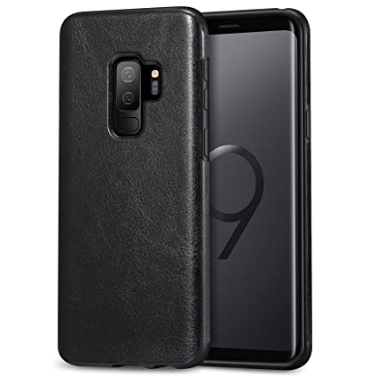 buy popular a5a35 f058e TENDLIN Galaxy S9 Plus Case Leather Back Flexible TPU Silicone Hybrid Slim  Case for Samsung Galaxy S9 Plus (Black)