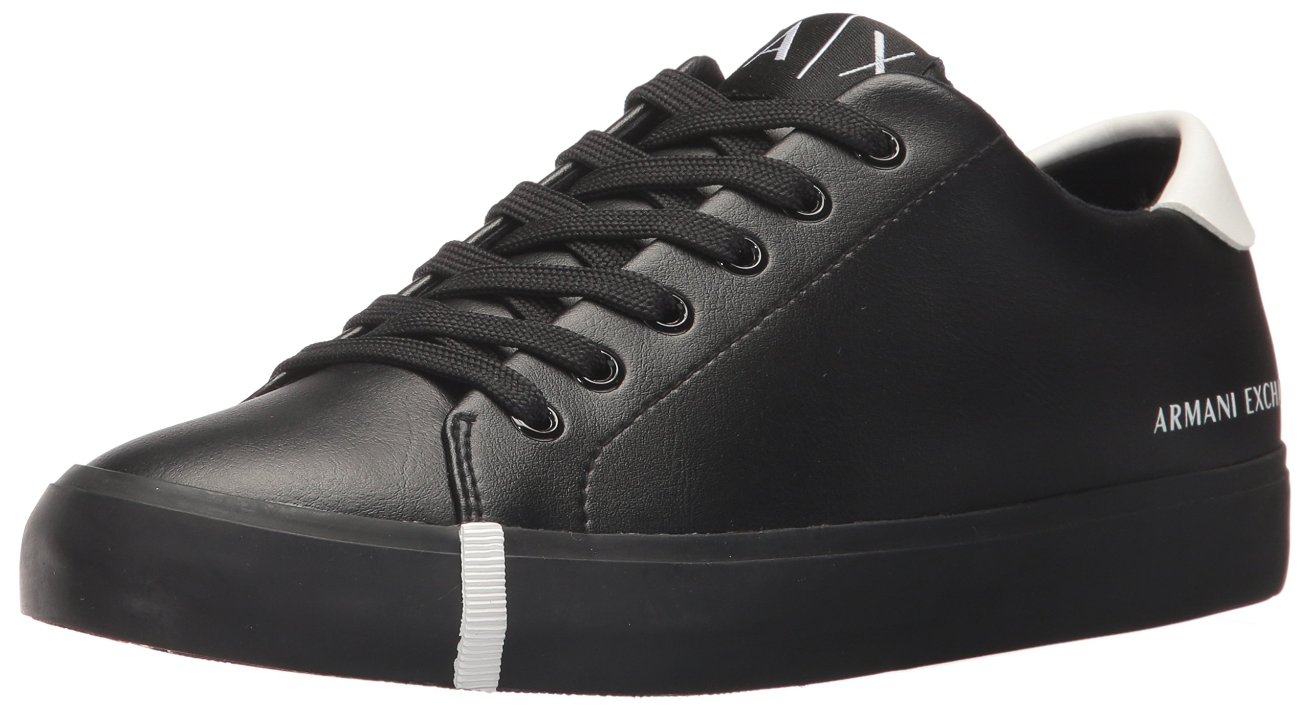 A|X Armani Exchange Women's Eco Leather Low Top Sneaker, Nero, 8 M US