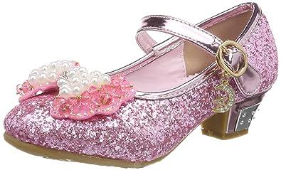 4e28205c0320f Tyidalin Ballerine Chaussures à talon à Déguisement Princesse Nœud Papillon  Paillettes pour Enfant Fille 3 à