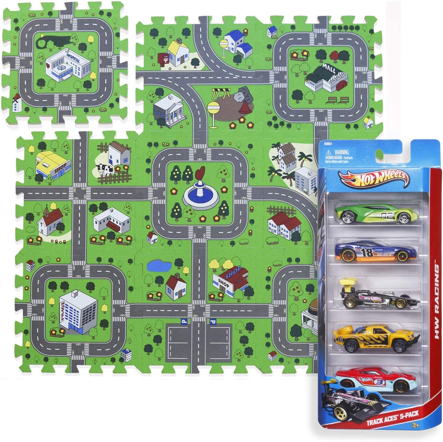 Play Mat Road Toy Foam Playmat Interlocking Floor Puzzle Road Playroom Mat Interactive Play Set Bundle with Hot Wheels Cars (5 pc - Car Set): Toys & Games