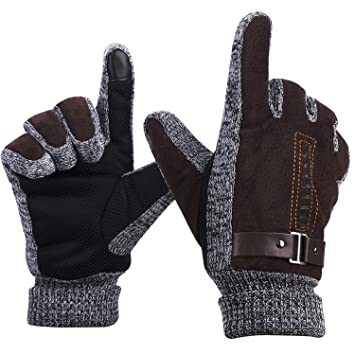 Gants Homme Hiver Tactile Cuir Mitaines Tricoté Isotoner en Polaire  Thermique Gants de Ski Moto Vélo 67ecceee33c7
