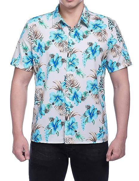 9724af9df HEQU Men's Aloha Hawaiian Floral Print Button Down Short Sleeve Tropical  Beach Shirt Blue M