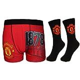 Manchester United FC Football Gift Mens Crest Socks & Boxer Shorts