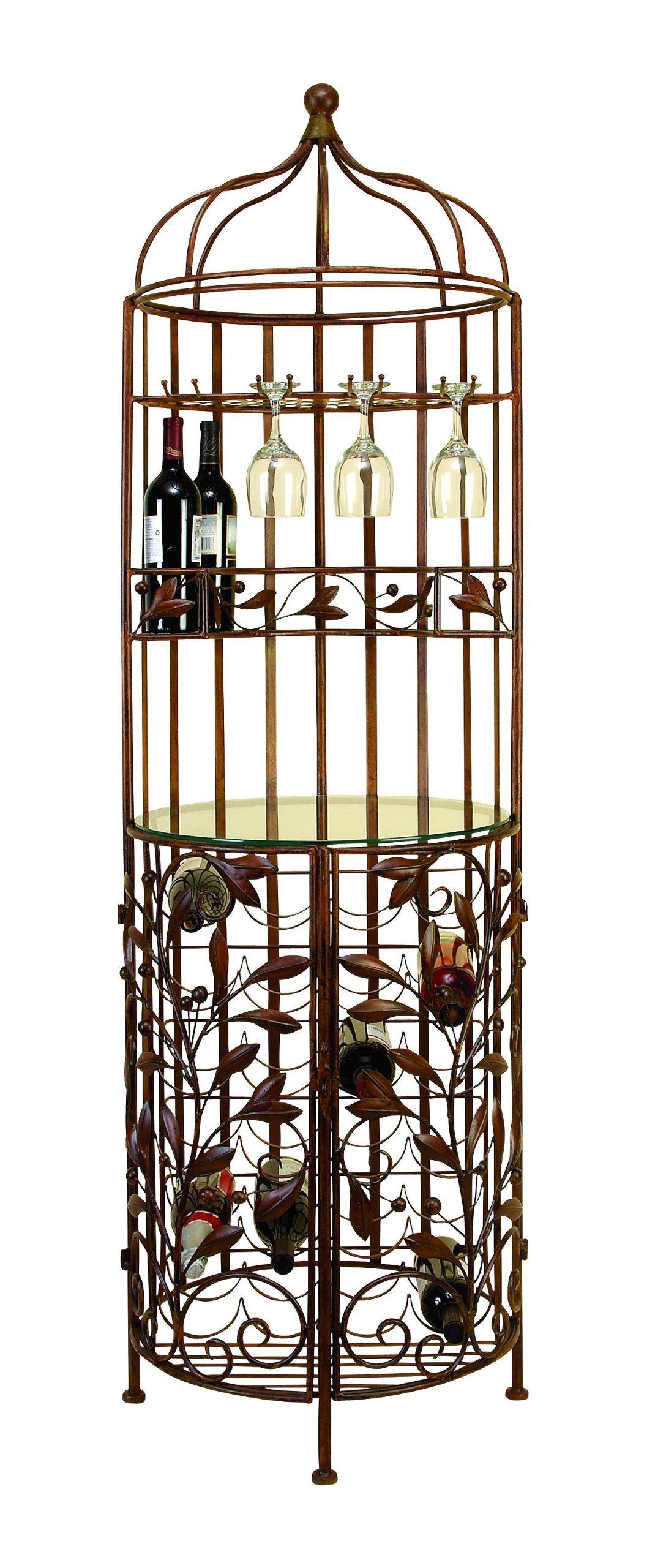 Deco 79 Brown Metal Glass Wine Cabinet