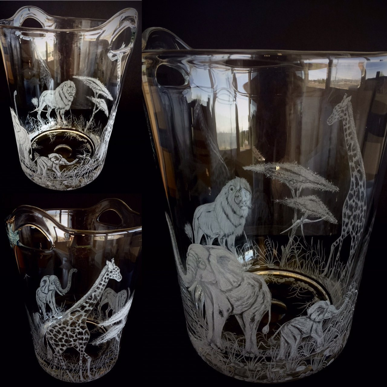 Hand Engraved Ice Bucket African Animals, Lion, Giraffe and Elephant, African Safari Scene, Engraved Bar Ware, Wedding Gifts Etched by Akoko Art Handengraved Crystal Glass (Image #4)