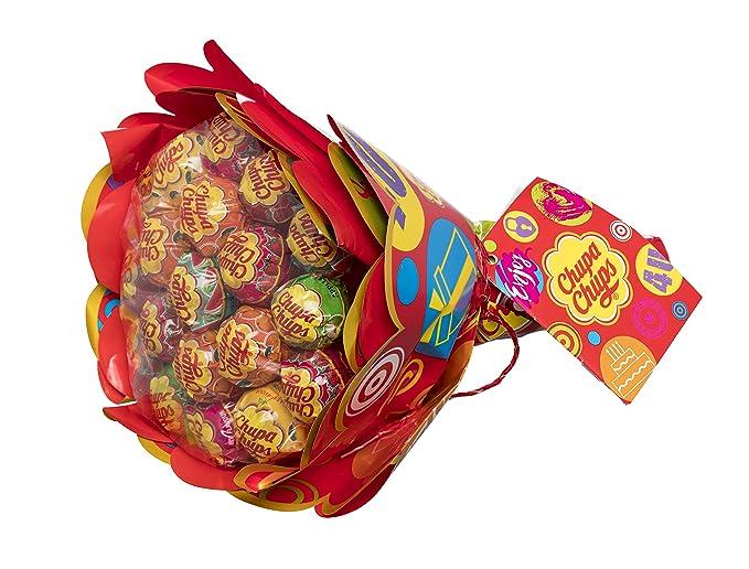 Chupa Chups Caramelo con Palo de Sabores Variados Flower Bouquet - Ramo Regalo de 19 unidades de 12gr/ud