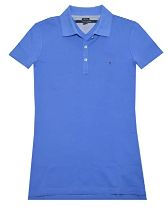 cd3ea410 Tommy Hilfiger Women Classic Fit Logo Polo T-Shirt (S, French blue)