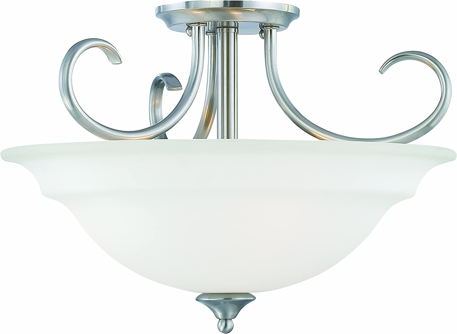 Thomas Lighting SL860778 Bella Collection 3 Light Convertible Semi-Flush Ceiling Light, Brushed Nickel