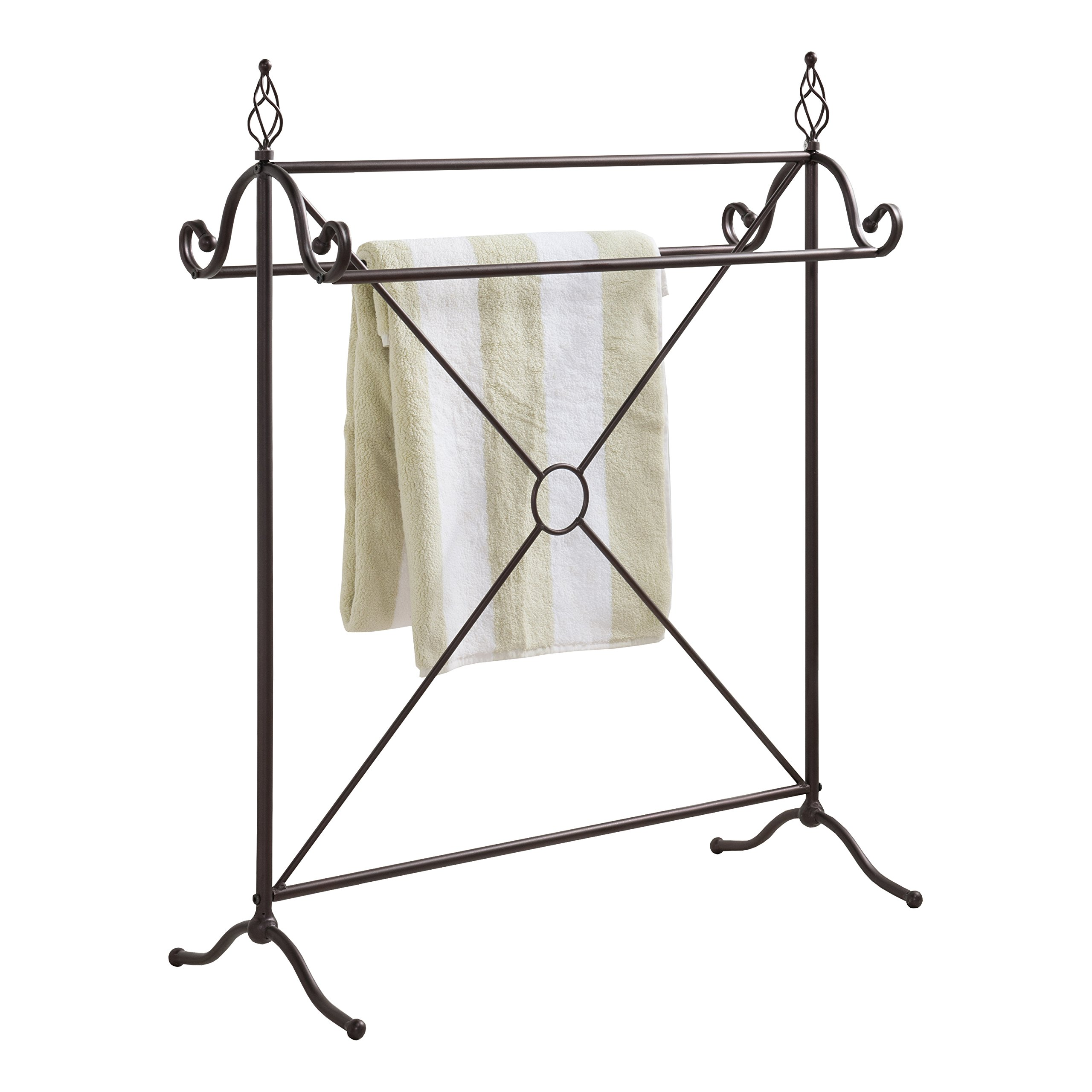 Pilaster Designs - Antique Style Bronze Finish Metal Towel Rack Stand