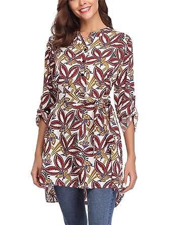 Tunique Femme Chemisier Fleur Tee Shirt Femme Col V avec Boutons Haut Femme  Manches Longues Casual e788149d82e9