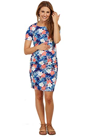 bd3147e04a5 PinkBlush Maternity Tropic Floral Fitted Dress at Amazon Women s ...