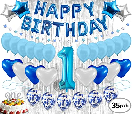 1st Birthday Decoration For Baby Boy First Balloon Party Supplies Kit Banner