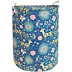 Canvas Laundry Hamper 19.7x15.7 Inch,Foldable Storage Bin,Dirty Clothes Laundry Basket,ZUEXT Waterproof Linen Fabric Laundry Basket with Handles for Girls Nursery Bedroom Baby Shower Gift(Floral Deer)