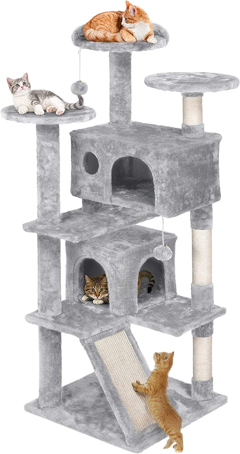 Amazon Com Yaheetech 55 Inches Multi Level Cat Tree Kittens Activity Tower Play House Furniture Pet Supplies