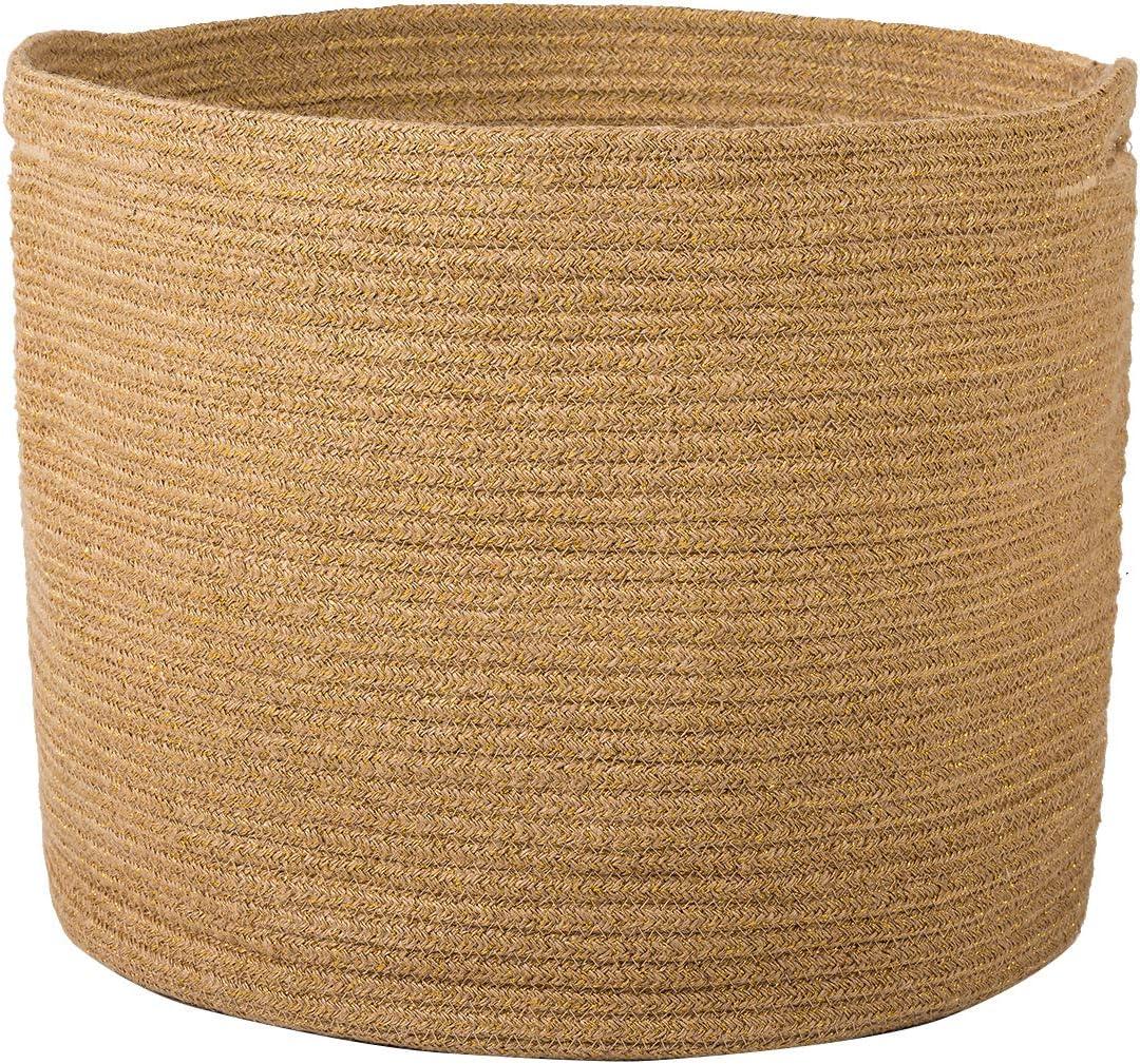 toallas almohadas cesta tejida para la ropa sucia para beb/é Cobeky Cestas de almacenamiento de cuerda de algod/ón sof/á juguetes o guarder/ía organizador de cuerda de algod/ón con asas color rosa