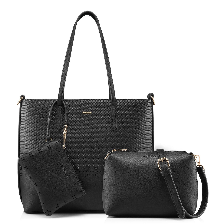 Tote Bag Handbags for Women Purse Top Handle Satchel Shoulder Bag Designer Travel Bag Top-Zip 3 Pieces Set Black