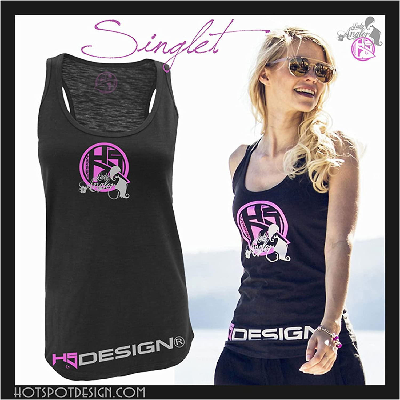 schwarz-pink HOTSPOT DESIGN Singlet Lady Angler Tr/ägershirt