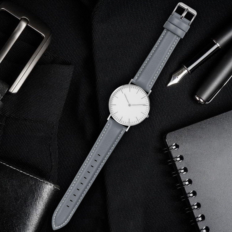 Fullmosa Bracelet Cuir Montre Femme Homme Fixation Rapide, Axus Series Watch Bracelet de Remplacement Cuir de Veau véritable avec Fermoir en métal INOX 18mm 20mm 22mm 24mm Gris