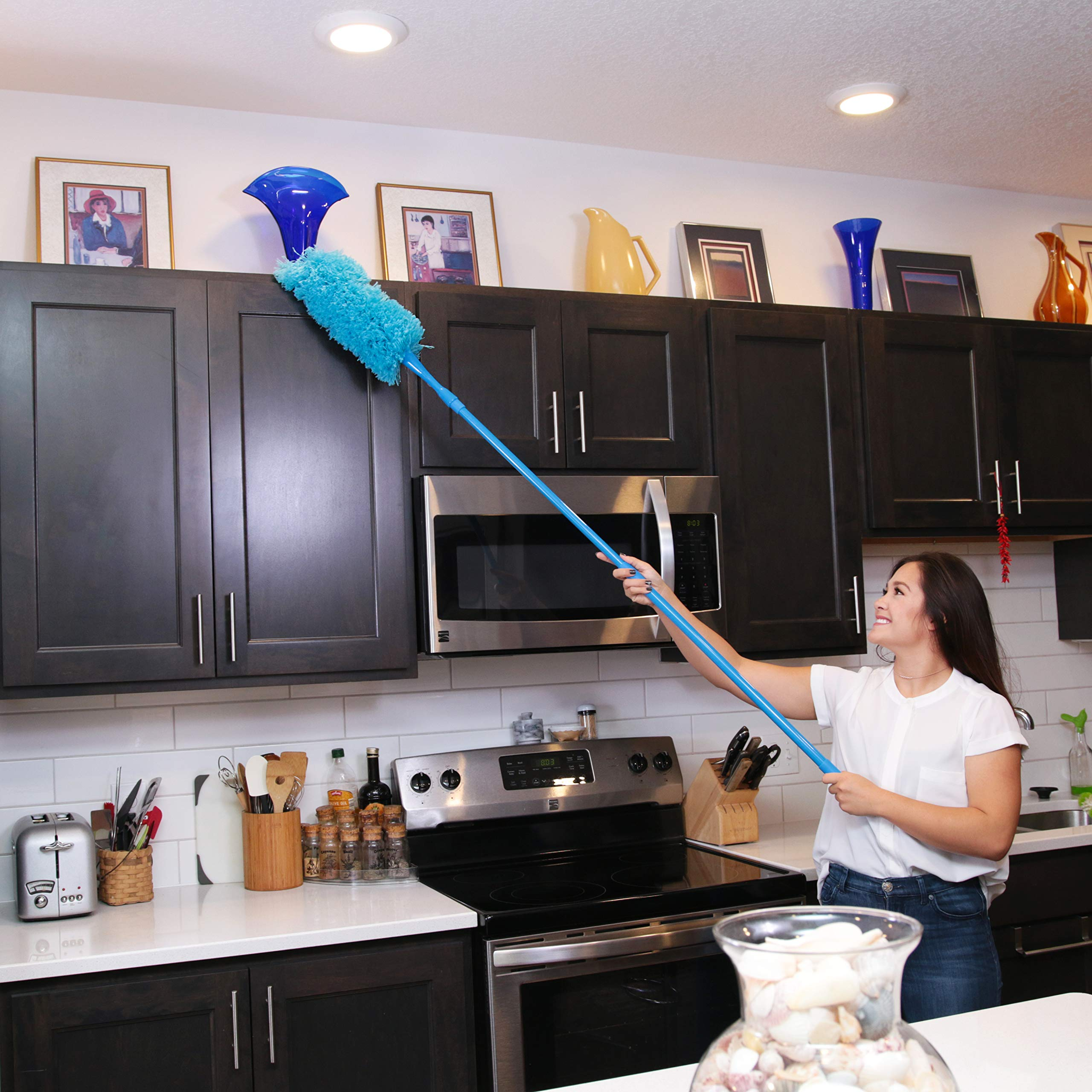 Hank HouseHold TriboDuster with Bonus Blinds Cleaner - Microfiber Duster for Cleaning with Extendable Telescoping Pole Up to 5ft6''! Ceiling Fan Dusters, Cobweb/Spider Web Brush and Blind Duster by Hank HouseHold (Image #3)