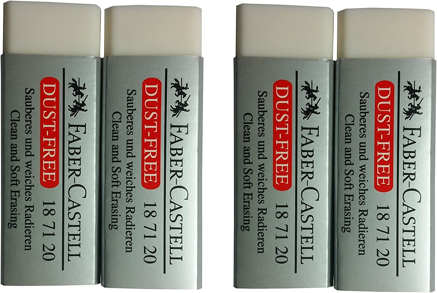 [Pack of 4] Faber-Castell LARGE Pencil Eraser Dust Free Clean and Extra Soft Erasing for ART, OFFICE, SCHOOL USE (6.2x2x1.25cm)
