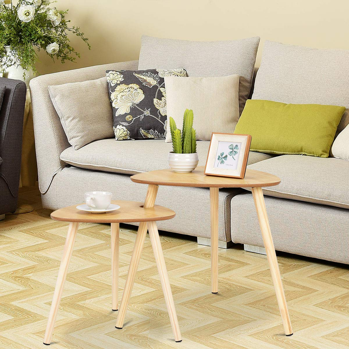 Giantex 2 Pcs Nesting Coffee Tables End Table Accent Sofa Side Table Home Living Room Office Modern D cor Coffee Table w Wooden Leg