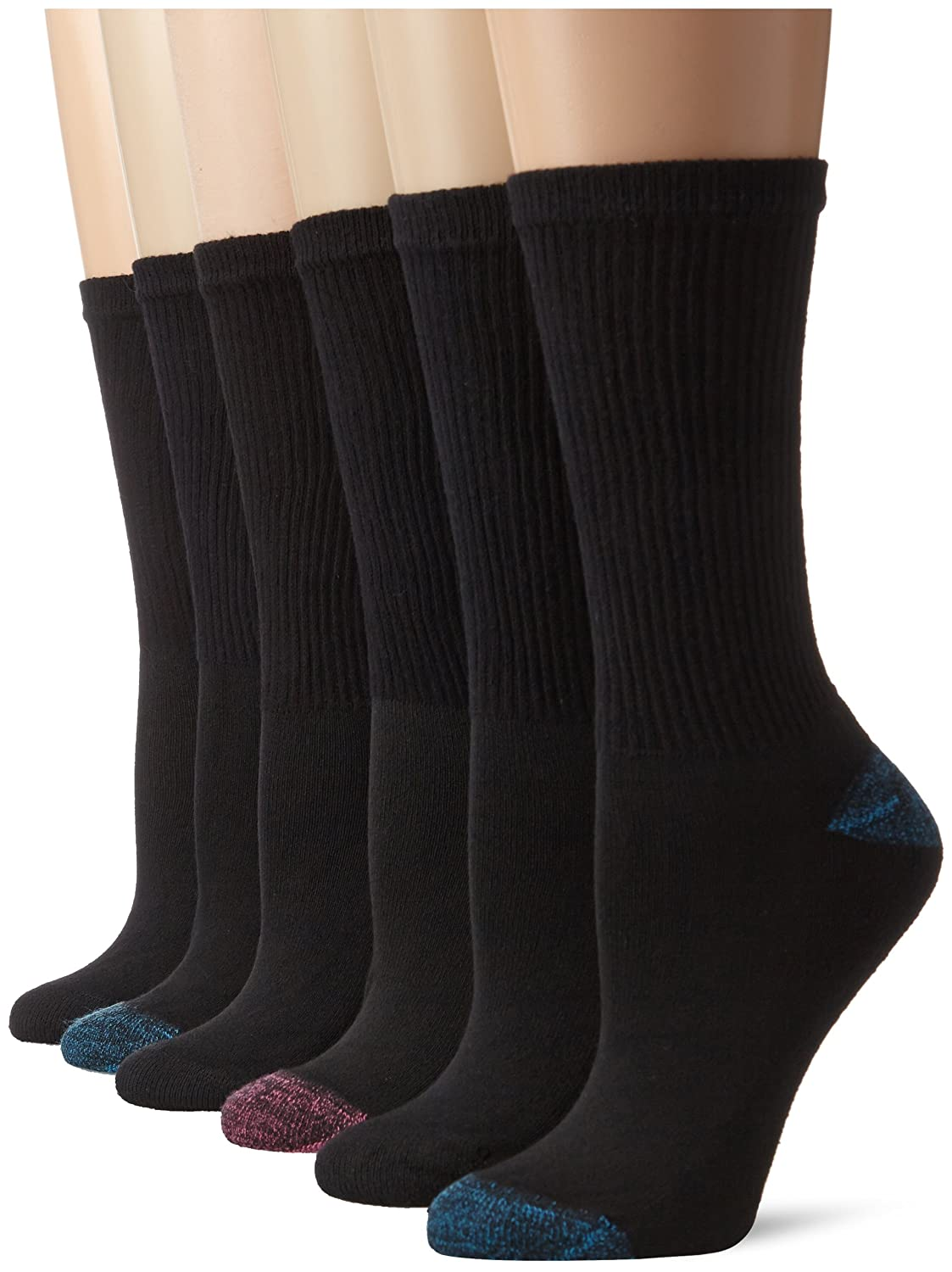 Hanes Women's Big-Tall Comfort Blend Crew Extended Size Sock, Black Assorted, Shoe Size 8-12/ Sock Size 10-12 (Pack of 6) Hanes Women's Socks 683/6P adidas socks american flag socks