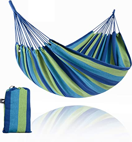 Blue Hammock with Carry Bag for Backyard Porch Outdoor and Indoor Use Blue Stripe SUNCREAT Brazilian Hammock Canvas Hammock Portable