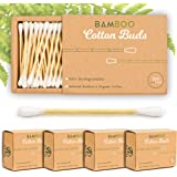 Alyn Bamboo Cotton Wool Buds | Pack of 4 (800 Pieces) | 100% Biodegradable Organic Wooden Ear Swabs | Sustainable & Vegan Qtips | Plastic Free Environmentally Clean Packaging | Free E Book