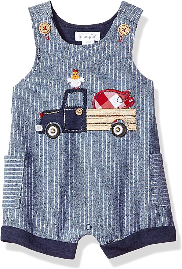Mud Pie Farmhouse Collection Blue and White Gingham Boys Shortall