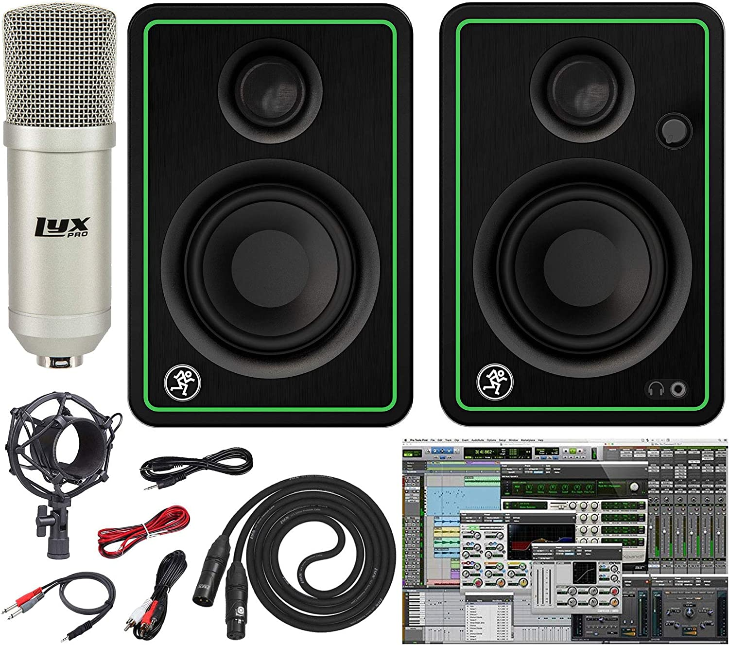 Mackie CR3-X 3-Inch Creative Reference Multimedia Monitors with Professional Recording Microphone and Pro Cable Kit Featuring Pro Tools First DAW Music Editing Software