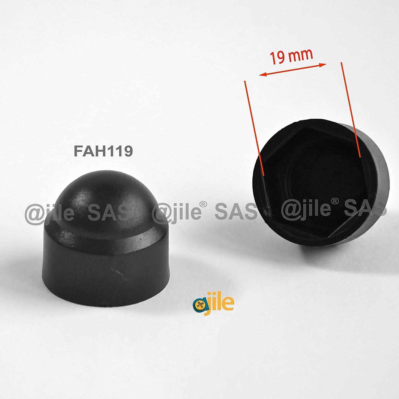 Sechskant Abdeckappe f/ür M10 Ziermutterkappe FAH117-L 17 mm Kunststoff SCHWARZ 100 St/ücke ajile Schutzkappe