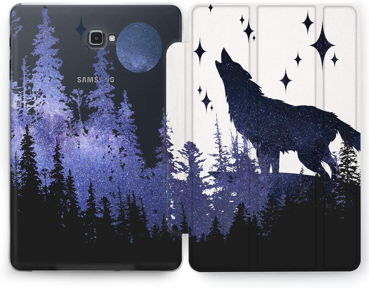 Wonder Wild Night Wolf Samsung Galaxy Tab S4 S2 S3 A Smart Stand Case S6 S5e 2019 2017 2018 Tablet Cover 8 Pen 9.7 10.1 10.5 Inch Clear Design Sky Trees Plants Space Blue Forest Purple Nature Beauty