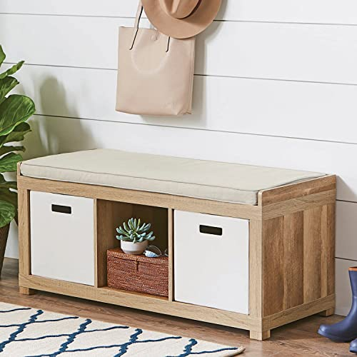 The Better Homes and Gardens 3 Cube Storage Bench Weathered Weathered